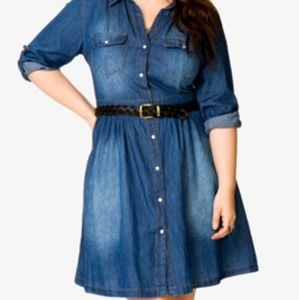 Forever 21 Plus Chambray Button Up Shirt Dress